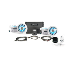 """Roswell Marine Audio R1 6.5"""" In-Boat Speaker & RGB Controller Package - White"""